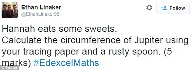 Some students took to Twitter to mock the Edexcel Maths question, which they said was too hard