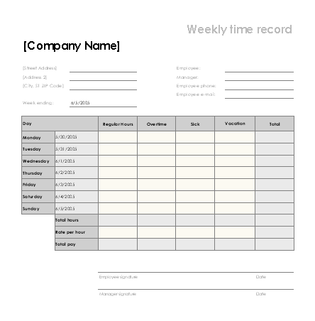 weekly time sheet with sick leave and vacation